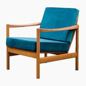 Vintage Blue Velor & Beech Armchair, 1960s