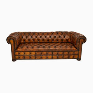Antique Leather Chesterfield Sofa, 1930s