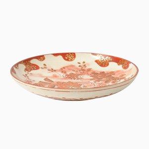 Piatto antico Meiji in ceramica di Kutani, Giappone