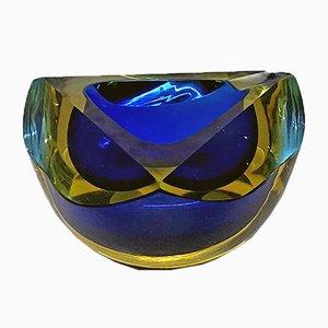 Italienischer Murano Glas Aschenbecher in Blau & Gelb, 1970er