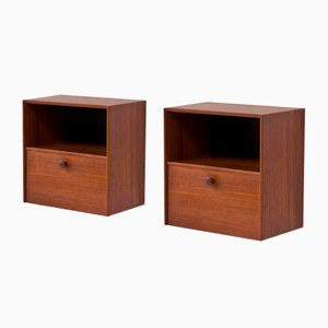 Swedish Teak Wall-Mounted Nightstands by Nils Jonsson for Hugo Troeds, 1950s, Set of 2
