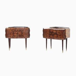 Tables de Chevet en Noyer et Laiton, Italie, 1960s, Set de 2