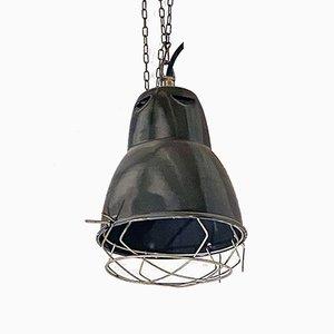 Italian Industrial Dark Gray Metal Ceiling Lamps, 1960s, Set of 3