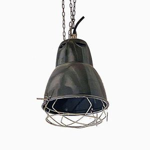 Italian Industrial Dark Gray Metal Ceiling Lamp, 1960s