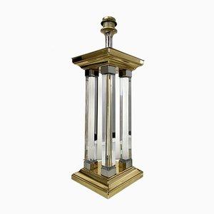 Lampada da tavolo grande Regency in ottone e vetro, anni '70