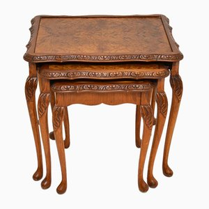 Antique Burr Walnut Side Tables, 1930s, Set of 3