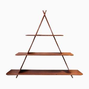 Dänisches Dreieckiges Teak Wandregal im Peder Moos Stil, 1950er