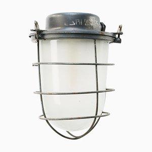 Industrielle Mid-Century Hängelampe aus grauem Metall & Milchglas