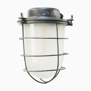 Mid-Century Industrial Gray Metal & Frosted Glass Pendant Lamp