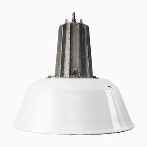 Lampe à Suspension Industrielle Mid-Century en Émail Blanc et en Fonte d'Aluminium