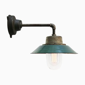 Mid-Century Industrial Petrol Green Enamel & Glass Sconce with Cast Iron Arm