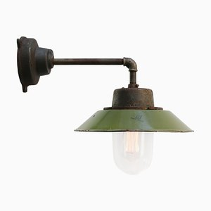 Mid-Century Industrial Olive Green Enamel & Glass Sconce with Cast Iron Arm