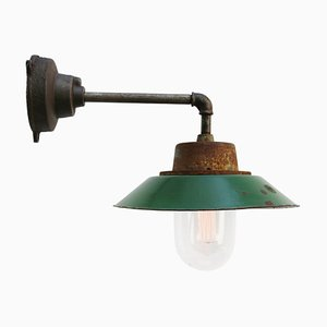 Mid-Century Industrial Green Enamel & Glass Sconce with Cast Iron Arm