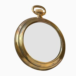 French Brass Pocket Watch Shaped Mirror, 1950s