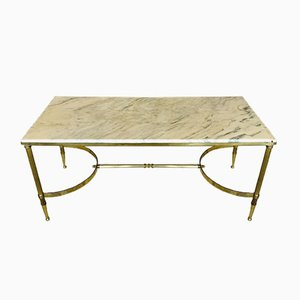 Mid-Century White Marble & Brass Coffee Table