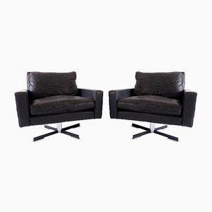 Black Leather Lounge Chairs from Wolfgang Röhl Potsdam, 1960s, Set of 2