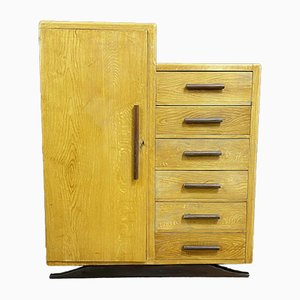 Mobiletto René Gabriel in stile Art Déco in legno di quercia asiatico, anni '40