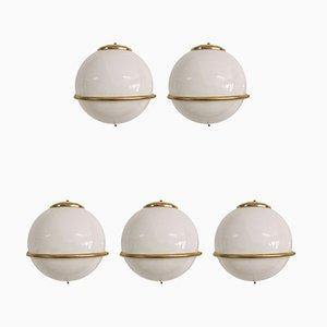 Italian White Glass & Brass Sconces, 1960s, Set of 5