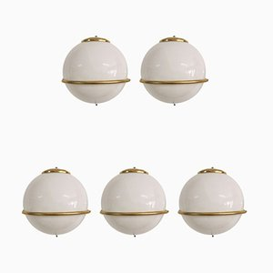 Italienische Weiße Glas & Messing Wandlampen, 1960er, 5er Set