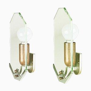 Kleine Art Deco Kupfer & Chrom Wandlampen, 1930er, 2er Set