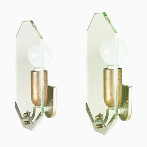 Small Art Deco Copper & Chrome Sconces, 1930s, Set of 2