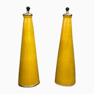 Lampade da tavolo grandi coniche in ceramica smaltata, anni '40, set di 2