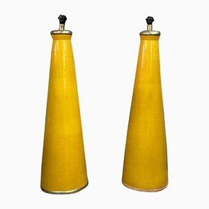 Large Conical Glazed Ceramic Table Lamps, 1940s, Set of 2