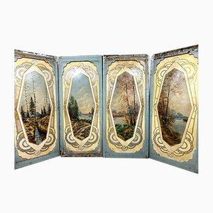 Große antike Jugendstil Wandschirme, ländliche Landschaft, 5er Set