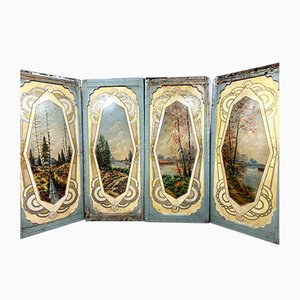 Large Antique Art Nouveau Screens Depicting Rural Landscape, Set of 5