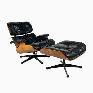 Aniline Leather & Rosewood Veneer Lounge Chair & Ottoman by Charles & Ray Eames for Vitra, 1968, Set of 2