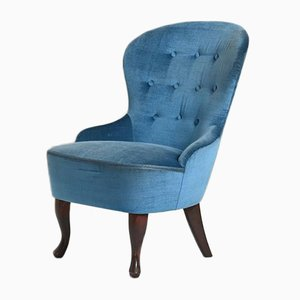 Scandinavian Blue Velvet Lounge Chair, 1950s