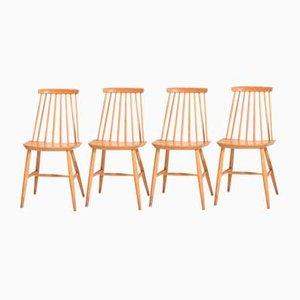 Sedie da pranzo Pinstolar in legno, anni '60, set di 4