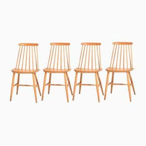 Wooden Pinstolar Dining Chairs, 1960s, Set of 4