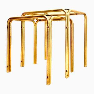 Mid-Century Brass Nesting Tables, Set of 2