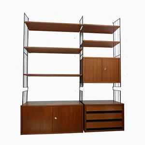 Teak Sectional Wall Unit, 1960s, Set of 14