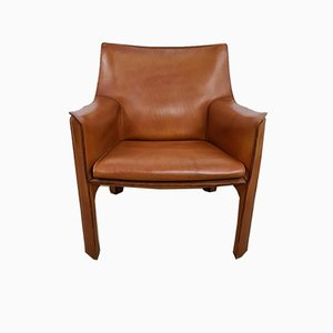 Leather CAB Lounge Chair by Mario Bellini for Cassina, 1980s