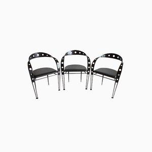 Postmoderne Armlehnstühle aus schwarzem Metall, 1980er, 3er Set