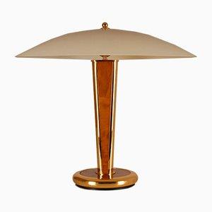 Lampe de Bureau Milo Baughman Style en Laiton Doré et en Broussin avec un Abat-Jour en Verre Fait Main, 1960s