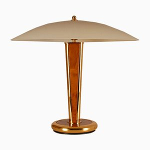 Milo Baughman Style Gilt Brass & Burl Wood Mushroom Table Lamp with Handcrafted Glass Lampshade, 1960s