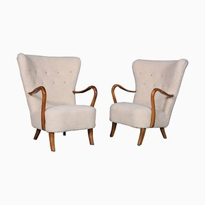 Lounge Chairs in Lamb Wool by Alfred Christensen, 1940s, Set of 2