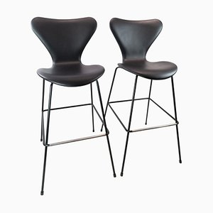 Model 3187/3197 Bar Stools by Arne Jacobsen and Fritz Hansen, Set of 2