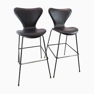 Tabourets de Bar Modèle 3187/3197 par Arne Jacobsen et Fritz Hansen, Set de 2