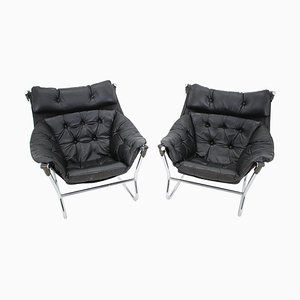 Leather and Chrome Armchairs by Ingmar Relling for Westnofa, 1970s, Set of 2