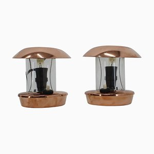 Brass and Glass Bauhaus Table Lamps, 1940s, Set of 2