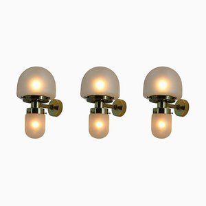 Brass and Glass Wall Lamps by Kamenicky Senov, 1960s, Set of 3