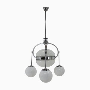 Art Deco Bauhaus Chrome Pendant Lamp, 1930s