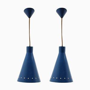 Blaue Metall Hängelampen, 1970er, 2er Set