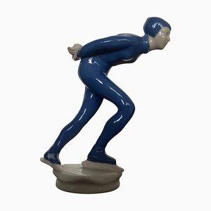 Keramikskulptur Athlet Eisläufer von J.Hejdova Holeckova, 1950er