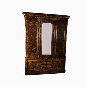Armario victoriano de madera nudosa de nogal con espejo