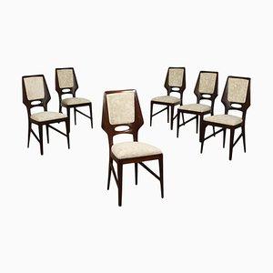 Stühle aus Mahagoni & Samt, Italien, 1950er, 6er Set